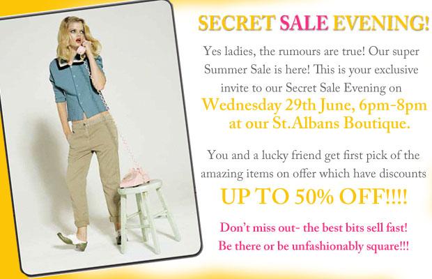 Secret sale evening invite