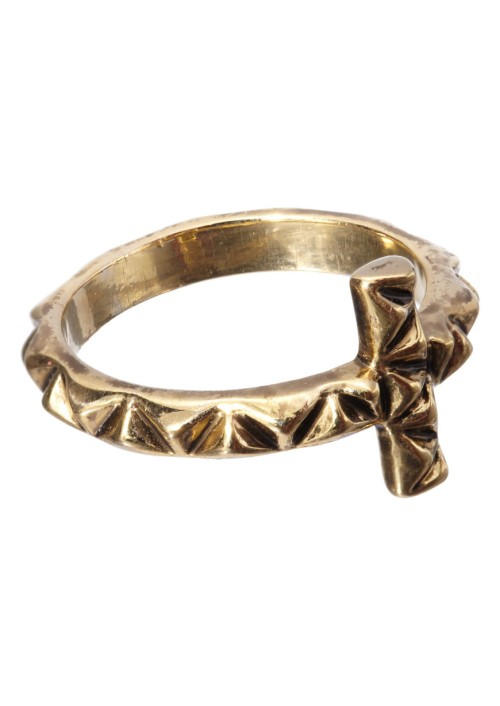 Faceted-Cross-Ring-Gold