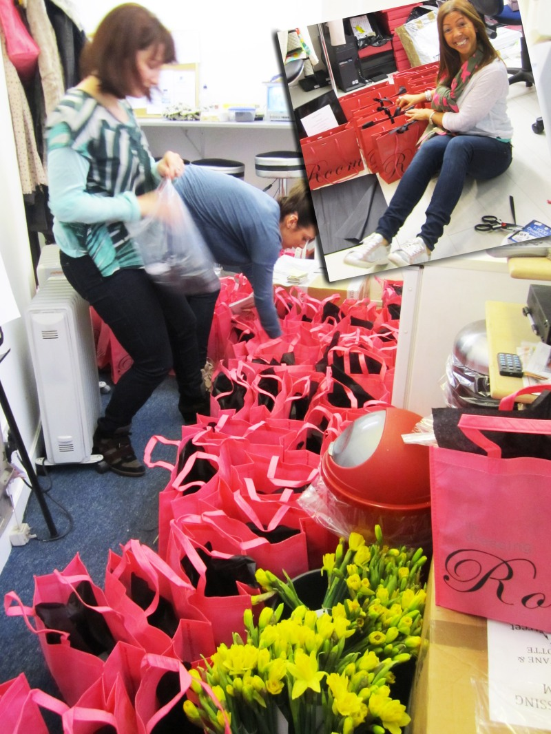 It was all go behind the scenes at The Dressing Room in prepartion for our Spring launch event! Goody bags and raffle prizes galore!