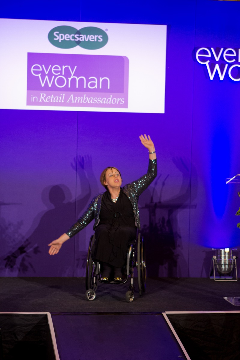Baroness Tanni Grey- Thompson DBE on stage, inspiring and delighting the audience.