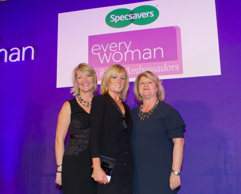 Deryane Collecting her Everywoman Award on stage from the editor of Woman and Home and one of the founders of the Everywoman programme